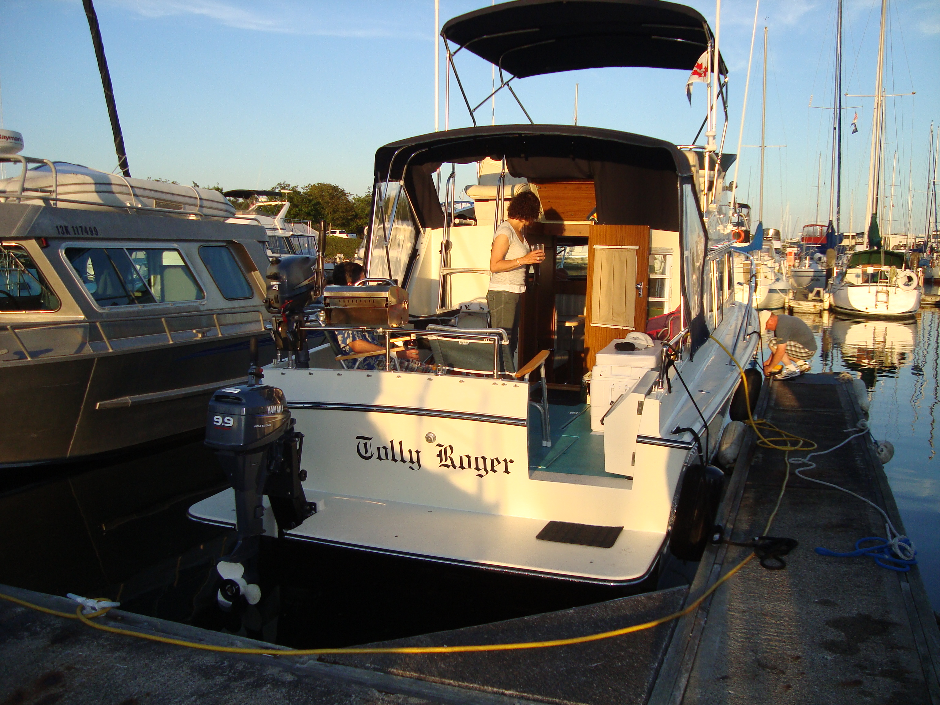 At The Dock & A wider Swim Step a new Transom Door and a new Rub Rail | MV Tolly ...